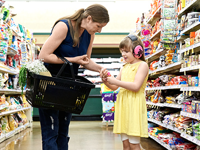 mom and daughter with autism shopping